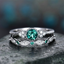 2 Pcs Vintage Silver Crystal Finger Rings For Women Green Zircon Rings Jewellery Lady Engagement Ring Women Wedding Promise Ring(China)