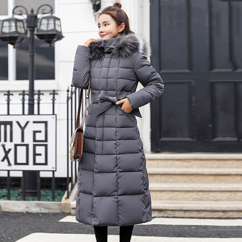 KMVEXO 2019 Fashion Solid Slim Women Winter X-Long Jacket Cotton Padded Warm Thicken Ladies Coat Long Coats Parka Womens Jackets
