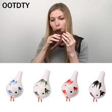 OOTDTY Professional 6 Hole Ocarina Ceramic Alto AC Key Flute Musical Instrument