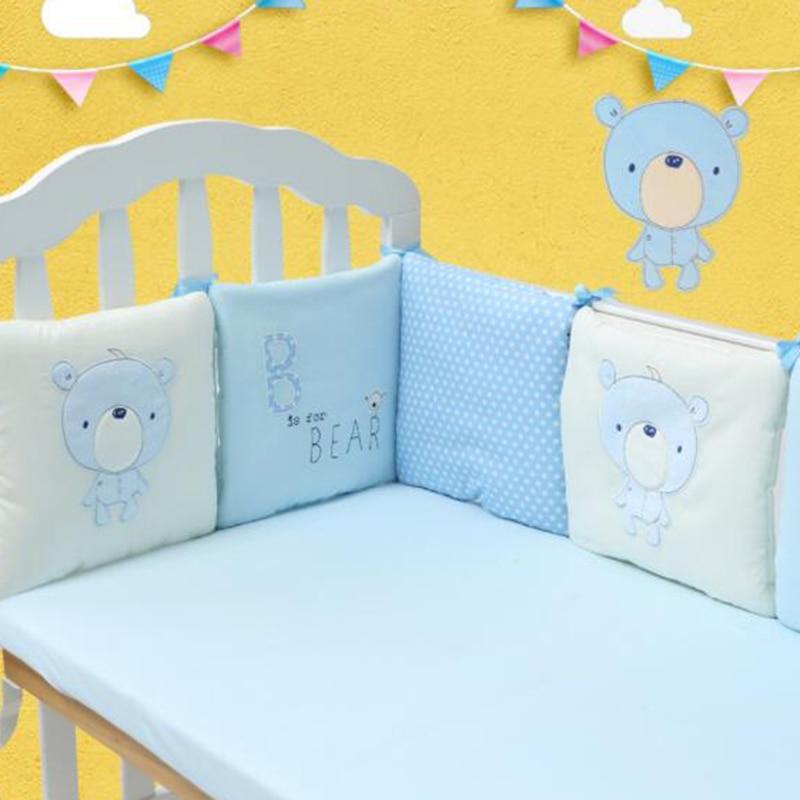 6 Pieces/Lot Crib Bumper Cartoon Newborn Crib Bumper Crib Protection Pad Cushion Breathable Baby Bed Safety Fence