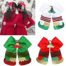 1 Piece Christmas Boots Style Cheer Bows for Girls Handmade Ribbon Hair with Elastic Bands Glitter X-Mas Accessories