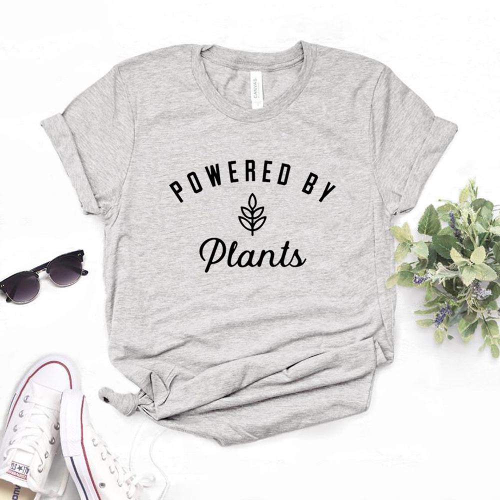 Powered By Plants Print Women Tshirts Cotton Casual Funny T Shirt For Lady  Yong Girl Top Tee 6 Color NA-1021