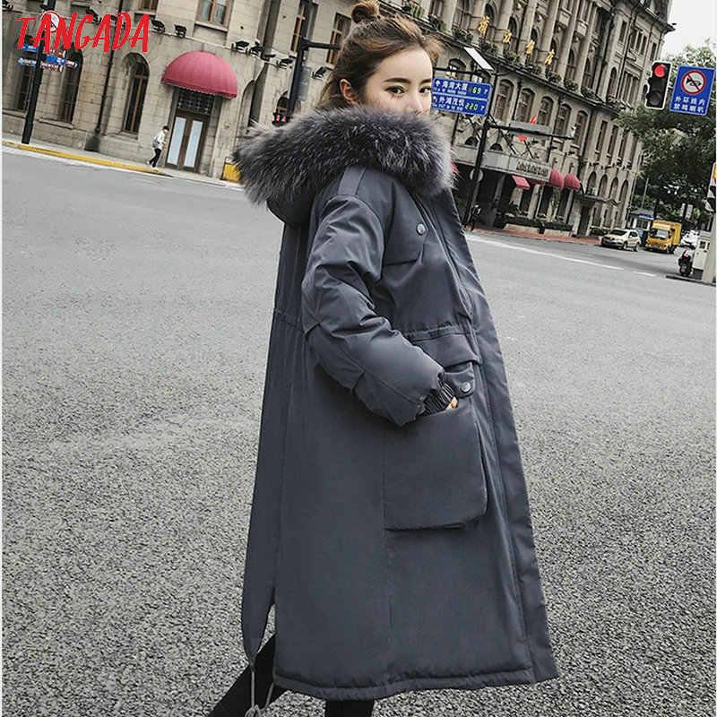 Tangada winter women black coat Cotton Padded 2019 plus size 2XL long Parka fur collar hooded coat warm outwear AMK11