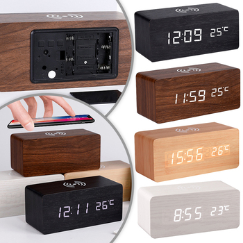 Modern Wooden Wood Digital LED Desk Alarm Clock Thermometer Wireless Charger With Qi Charging Pad