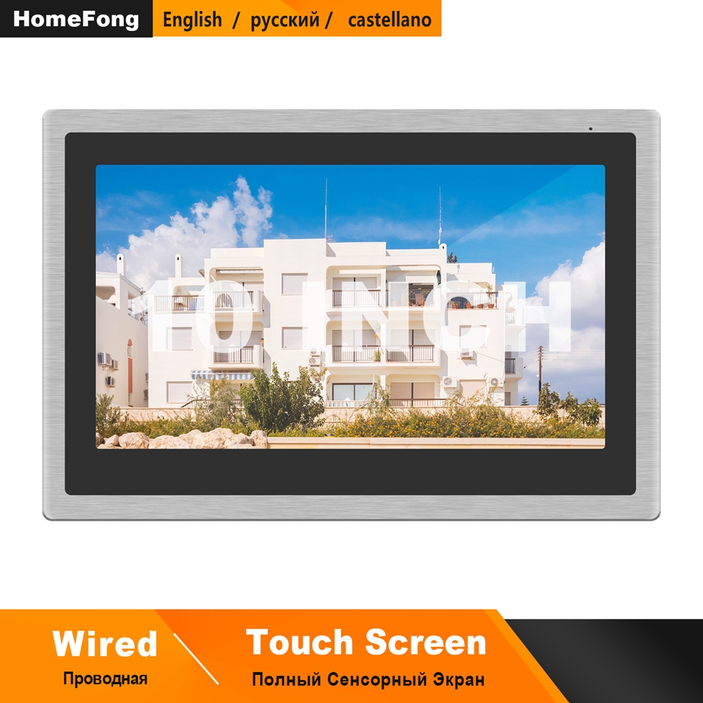 Homefong Wired Video Intercom Monitor 10 Inch Touch Screen Support AHD Doorbell Outdoor Camera Connected Motion Detection Record