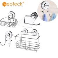 Neoteck 4 pacote de aço inoxidável gancho para ventosa gancho/saboneteira/armazenamento saco cozinha cesta armazenamento banheiro shampoo|  -