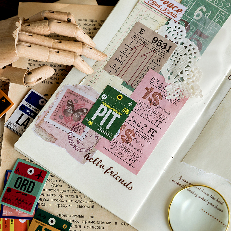 Details about  /46 Pcs DIY Travel Paper Stickers Diary Decor Scrapbooking Travel 6N