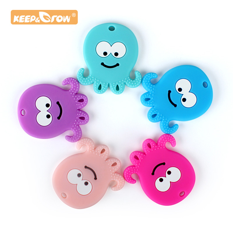 Keep&Grow 1pc Octopus Baby Teether Soft Texture Baby Teething Toys DIY Nursing Accessories Food Grade Rodent Silicone