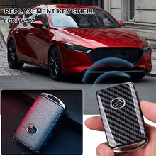 Car Key Fob Cover Replacement Carbon ABS Fiber Car Key Shell Cover for Mazda CX30 Mazda 3 Axela BP 2020 2021 Accessories