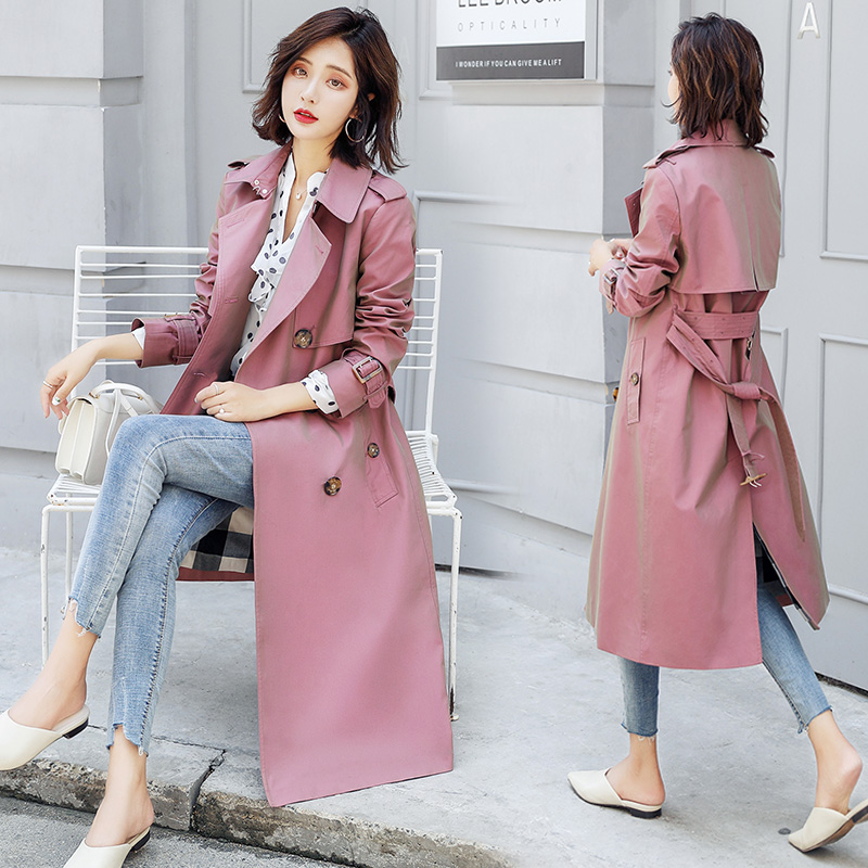 Fashion Spring Autumn Women's Chamelen Trench Coat Double Breasted Long Slim Office Lady Outerwear Below Knee Coat