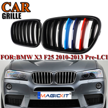 MagicKit New Pair Front Bumper Kidney Grill Grille For BMW X3 F25 X4 F26 2014 2015 2016 2017 Gloss Black M color Pre-Facelift