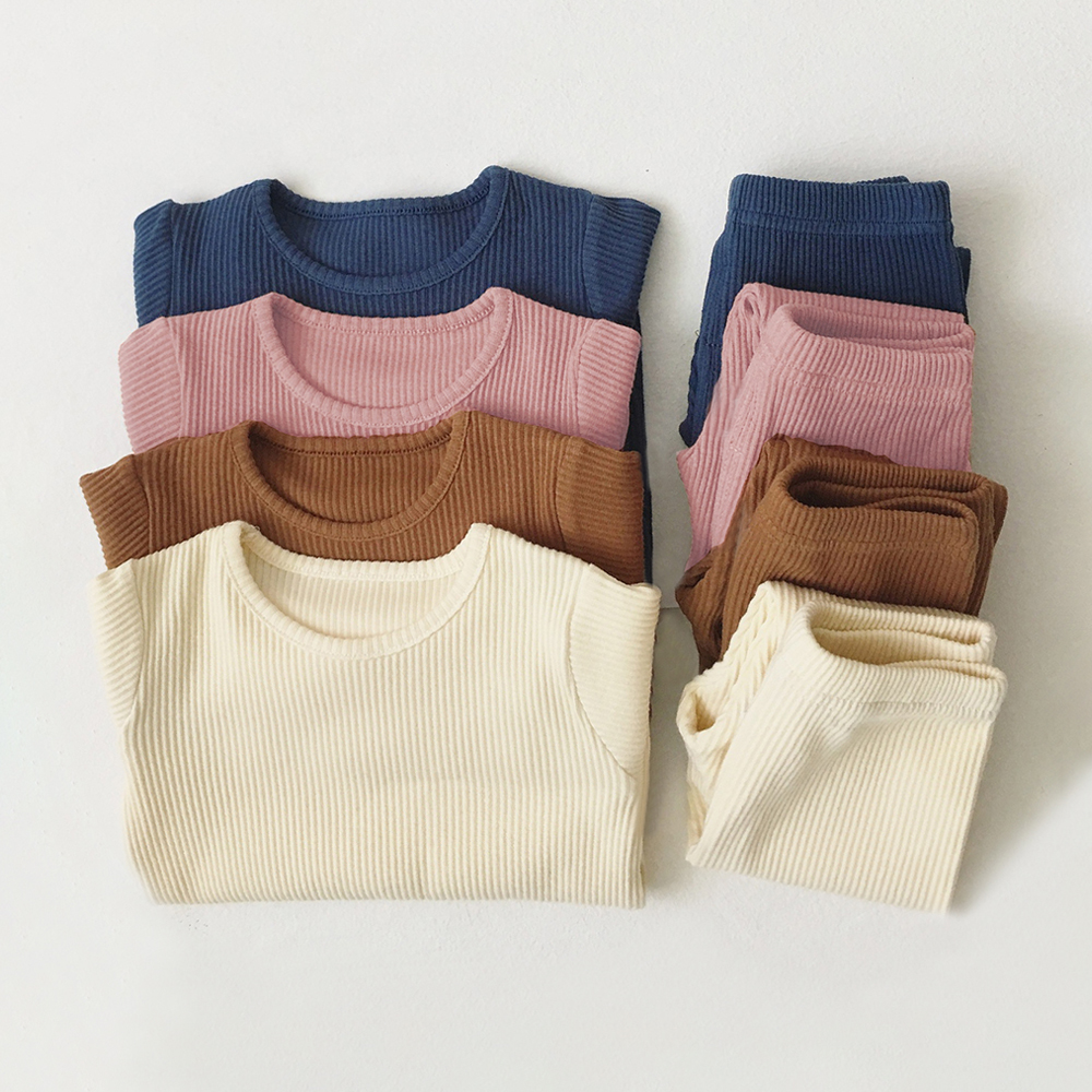 Kids Pajamas Sets For 1-8Y Children Lounge Wear For Boys Girls Full Sleeve Autumn Winter Baby Tops + Pants Girls Boys Sleepwear 2