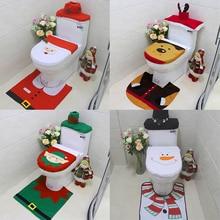 3pcs Christmas Toilet Cover Santa Claus Snowman Elk Elf Toilet Cover for Home Christmas