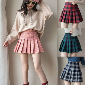 2021 Gothic Women kawaii High-waist Pleated Mini School Skirts for Girls Plaid Skirt Female Skater Zipper Skirts