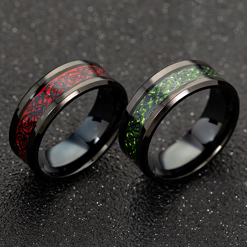 Stainless Steel Dragon Ring Red Green Carbon Fiber Black Dragon Inlay Comfort Fit For Men Wedding Band Ring Fashion jewelry
