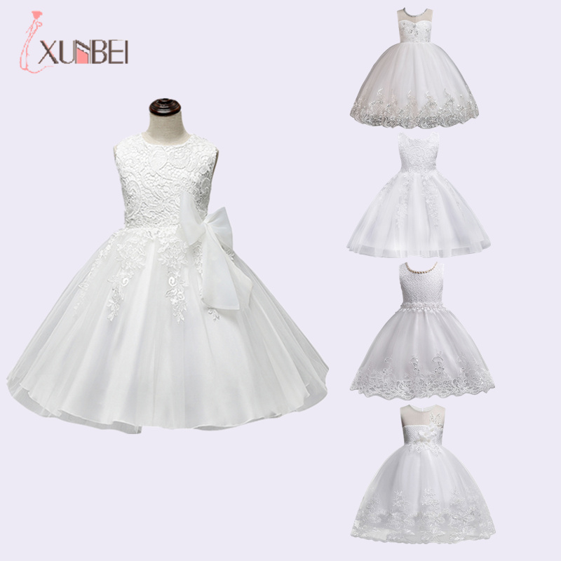 Knee Length White Flower Girl Dresses 2020 Applique Lace Ball Gown Girls Pageant Dresses First Communion Dresses For Wedding