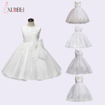 Knee Length White Flower Girl Dresses 2020 Applique Lace Ball Gown Girls Pageant Dresses First Communion Dresses For Wedding tulle glitz pageant dresses long flower girls dresses for wedding gowns ball gown girls first communion mother daughter dresses
