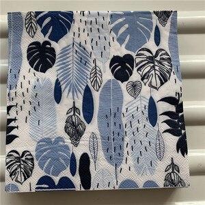 Image 5 - Servilleta de papel retro para mujer, pañuelo elegante, hoja de Monstera verde y azul, decoupage de flores, decoración para fiesta de cumpleaños y boda, hermosas servilletas
