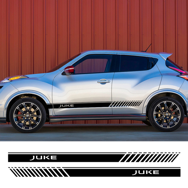 2PCS For Nissan Juke Auto Both Side Decor Graphic Vinyl Stripes Decals Car Door Side Skirt Stickers Racing Exterior Accessories 1