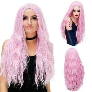 Image 3 - MSIWIGS 70 センチメートルロングピンク波状のかつらコスプレ合成女性のブロンドかつら 29 色耐熱毛