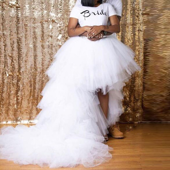2020 Newest Designed Skirts Long robe de soiree Tulle Skirt Party Tiered Hi Low Long Tail