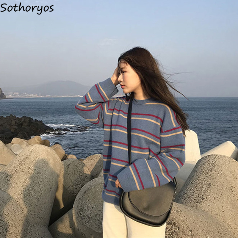 Pullovers Women Korean-Style O-Neck Knitting Long-Sleeve Loose Retro Striped Simple Leisure