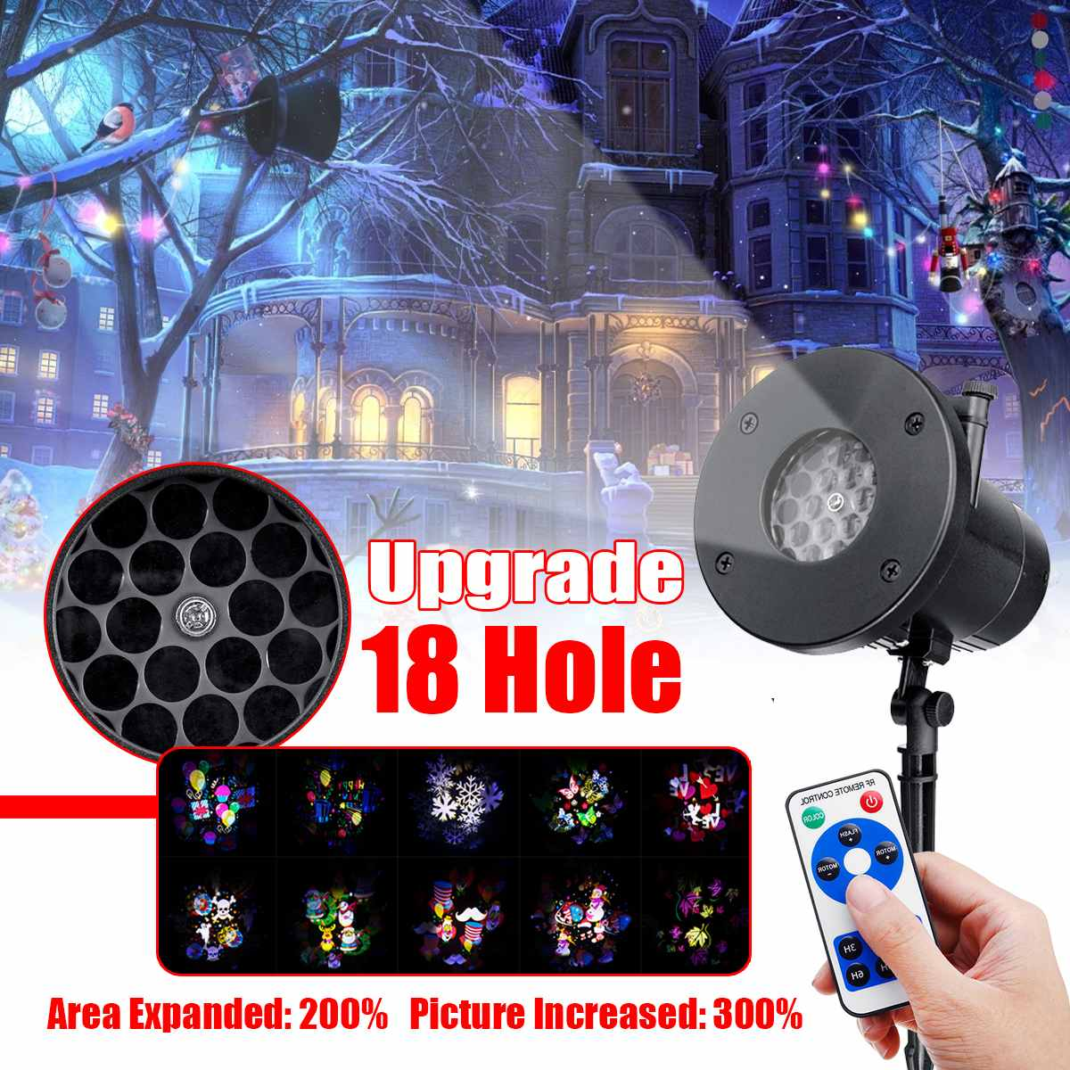 Projector Lamp 18 Holes Outdoor Landscape Light Christmas Halloween Party Garden Decoration Remote Control Holiday Lighting