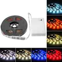 RGB LED Strip Light With Battery Box Flexible Lighting Ribbon Tape 3 Mode 20 Colors Waterproof IP65 50cm 100cm 150cm 200cm