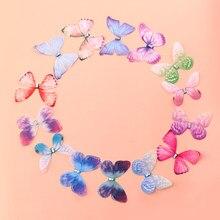 10PCS Doppel Schichten Chiffon Stoff Schmetterlinge 3D Tüll Schmetterling Appliques für Tutu, Haar Zubehör, Party Decor, nähen Handwerk