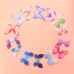 10PCS Double Layers Chiffon Fabric Butterflies 3D Tulle Butterfly Appliques for Tutu, Hair Accessory, Party Decor, Sewing Crafts