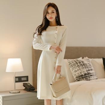 Oficina señora 2020 Primavera Verano nuevo vestido de moda mujeres de manga larga Vintage vestido Oficina señora pasarela blanco vestido DG984