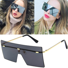 DesolDelos big one piece lens sunglasses women square blue pink brown metal rimless sun glasses for men male 2019 uv400