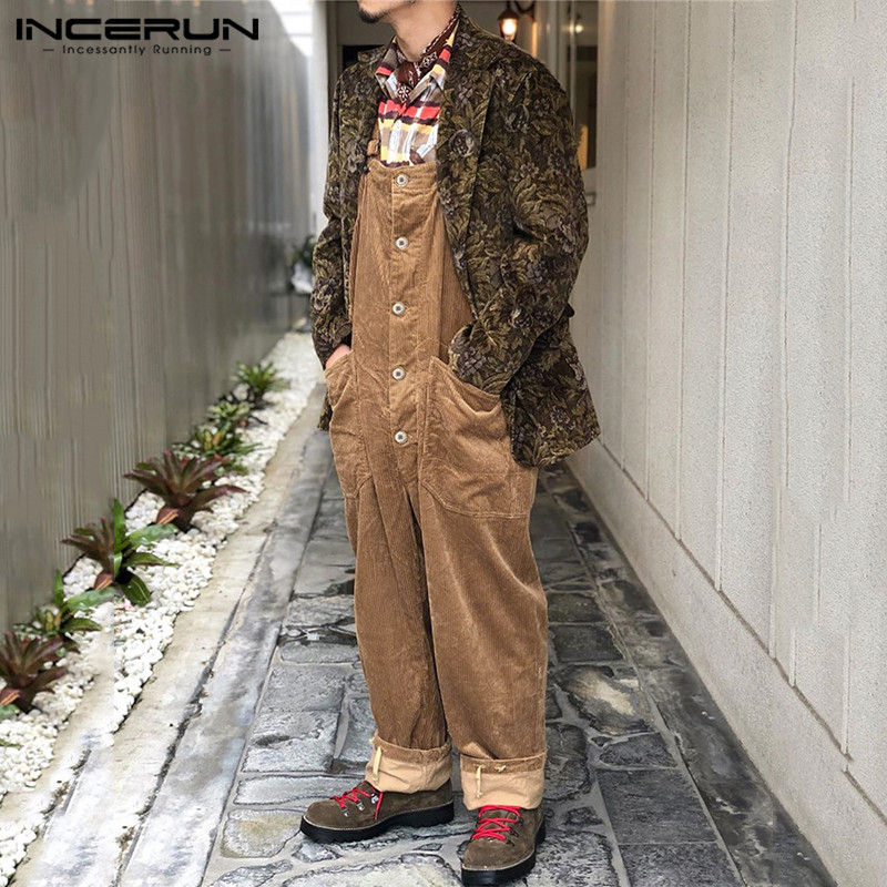 INCERUN 2020 Men Corduroy Jumpsuits Solid Bib Pants Loose Pockets Casual Suspenders Button Overalls Streetwear Men Rompers S-5XL