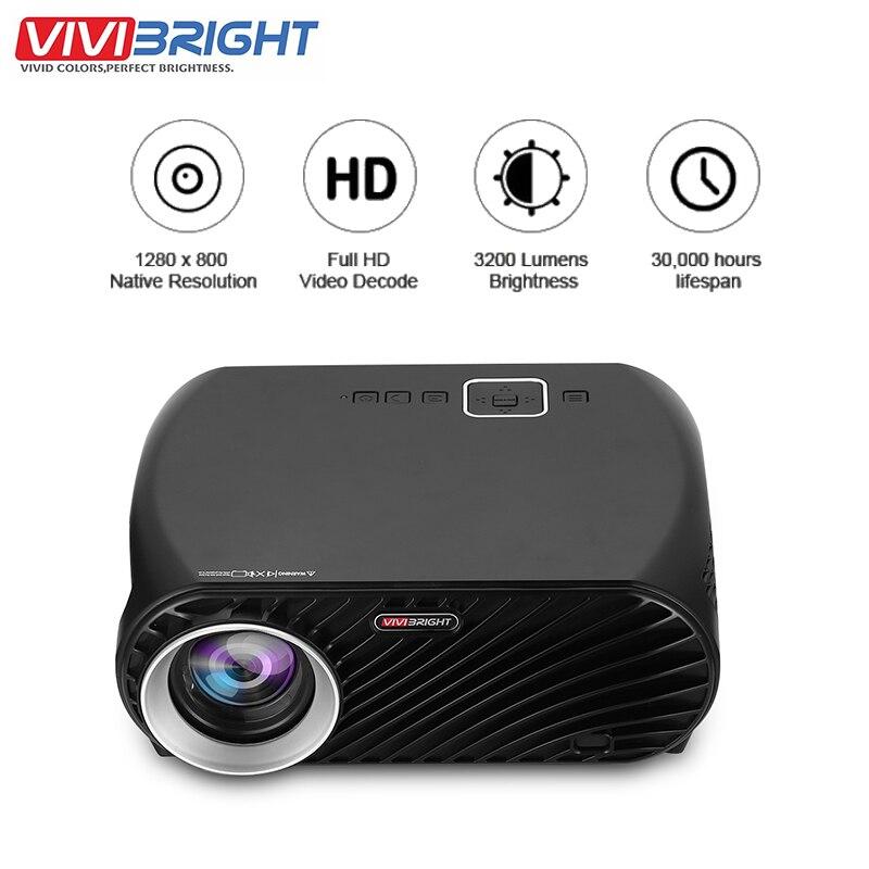 Original VIVIBRIGHT GP100 Proyector Full HD 3200 Lumen 1080P LCD LED de cine en casa cine Video Proyector incorporado altavoz estéreo