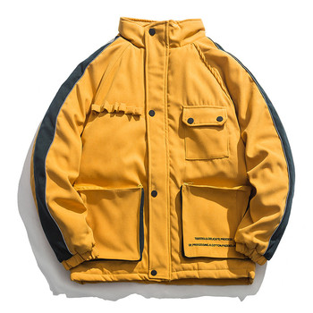 Winter Jacket Men Big Pockets Coat Cotton Padded Oversize Harajuku Hooded Thick Men Warm All-match Casual Streetwear