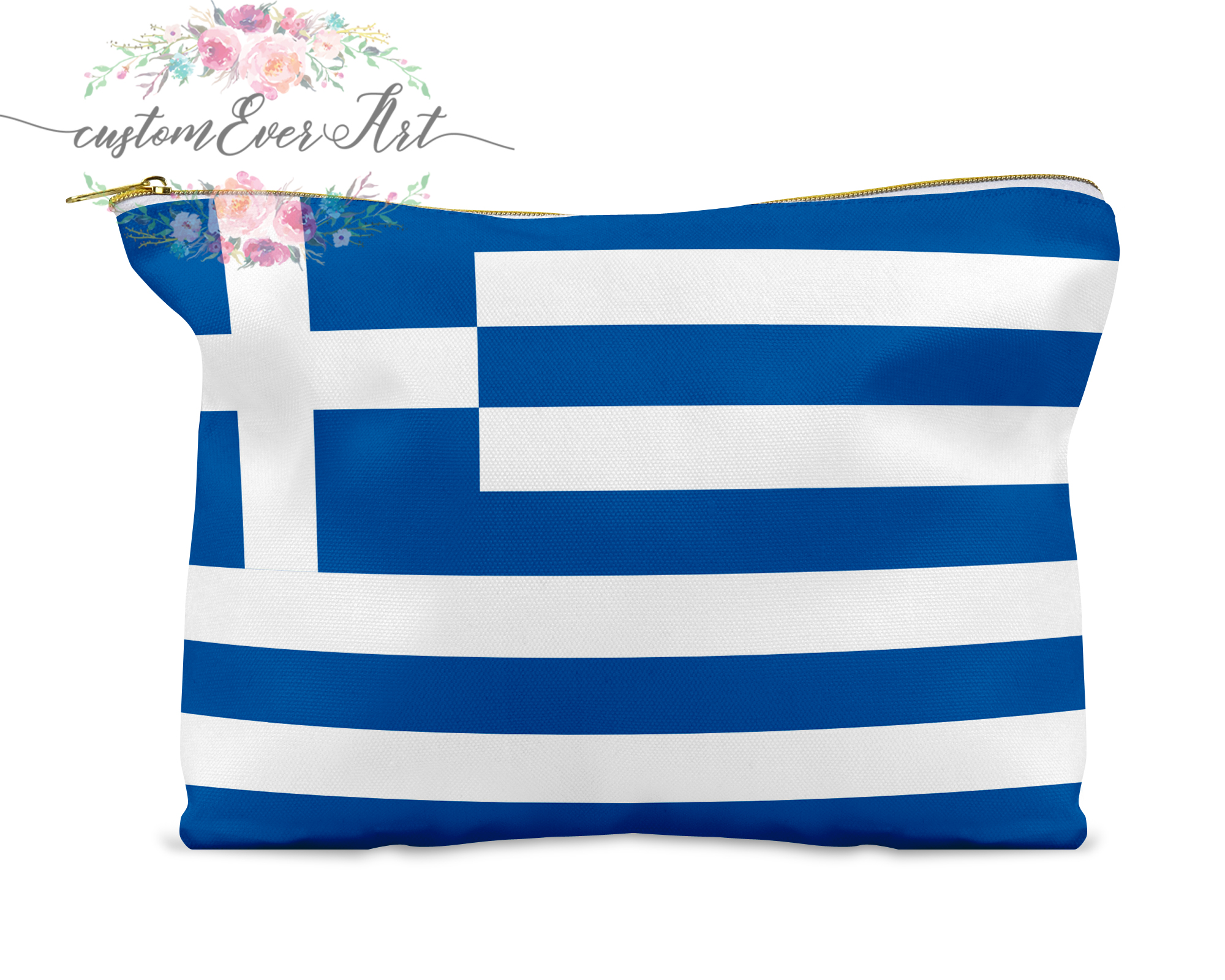 Greece Cosmetic Bag Personalized Makeup Bag Small Cosmetic Bag Toiletry Bag Zipper Pouch Bridesmaid Gift
