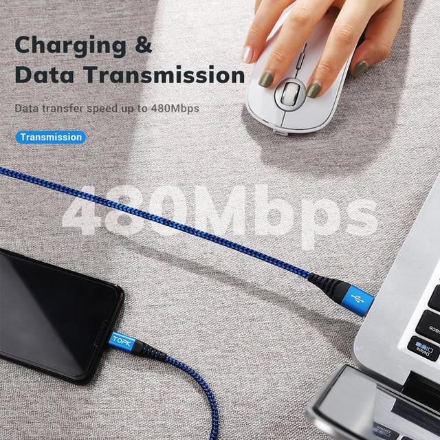 TOPK Micro USB Type C Cable 3A Fast Charging for Samsung Xiaomi Mobile Phone Data Cable Type-C for Xiaomi Redmi Note 8