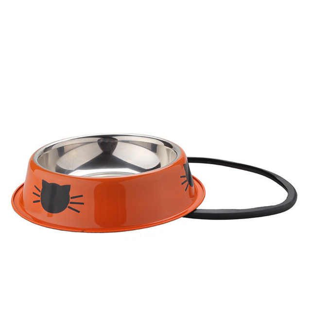 Pet Dog Bowl Durable Stainless Steel Paint Feeding Dishes Non-Slip   5