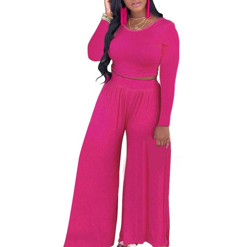 Women Tops+pants Ladies Round Neck   Jumpsuit   Fashion Long Sleeve Wide Leg Shirts High Waist