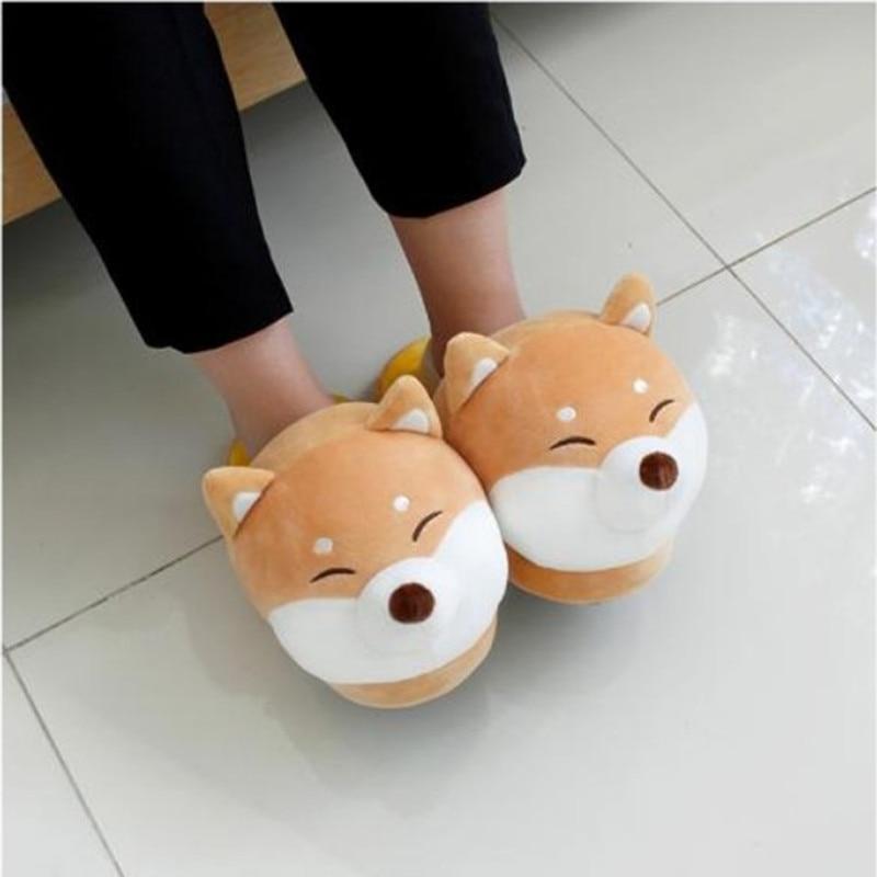 Shiba Inu&Corgi&Unicorn Soft Stuffed Animals Man Woman Couple Winter Shoes Cotton Gifts Husky Dog Plush Toys Cute Christmas Gift