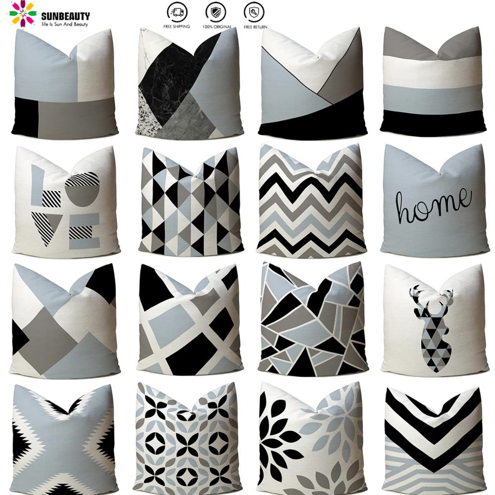 30sty Cushion Cover Nordic Decoration Blue Concise Geometry Pillowcase Square Sofa Bed Decorativ Throw Pillow Cover Linen 1 Pc