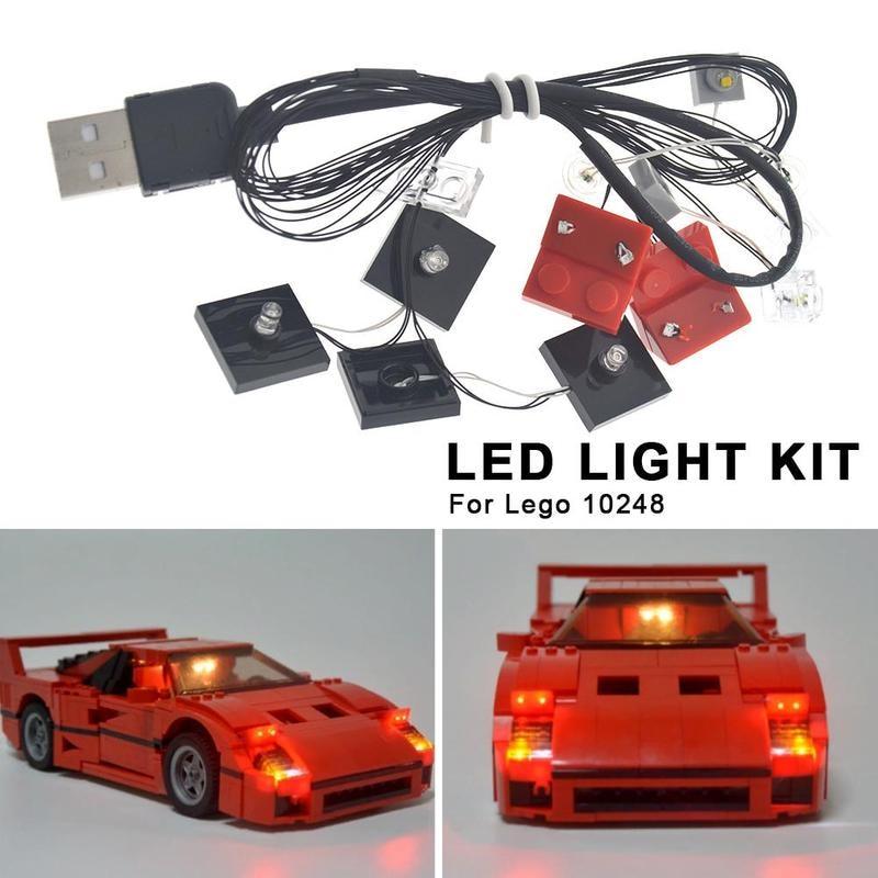 DIY Luminous Assembled Building Blocks Led Light Kit Only For LEGO 10248 Raing Car DIY LED Lighting Building Blocks Supplies