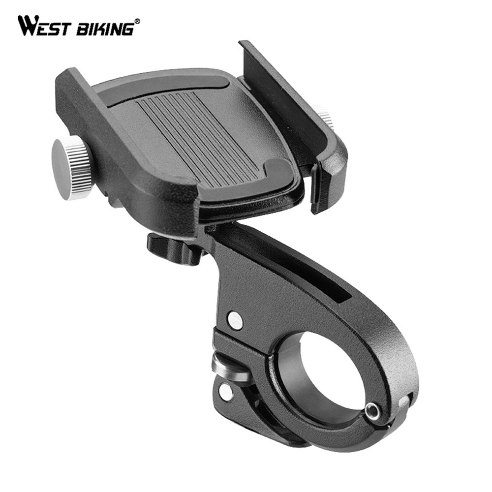 WEST BIKING Bike Phone Holder For Bike Cycling Bicycle Phone Holder Mount Bracket Cycling Bicycle Accessories Aluminium Alloy
