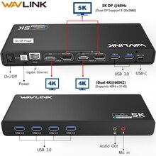 WAVLINK العالمي الترا 5K محطة الإرساء USB C العرض المزدوج USB3.0 إخراج الصوت والفيديو دعم HDMI/ديسبلايبورت جيجابت لماك