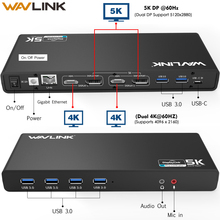 WAVLINK UNIVERSAL ULTRA 5K DOCKING STATION USB C DUAL DISPLAY USB3.0 VIDEO AUDIO OUTPUT SUPPORT HDMI/DISPLAYPORT GIGABIT FOR MAC