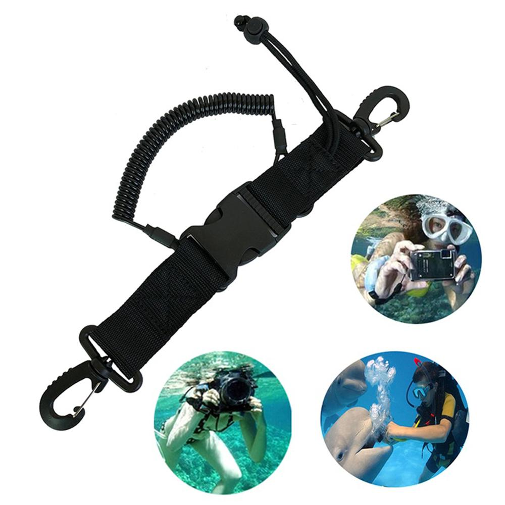 Durable Scuba Diving Lanyard Diving Camera Safety Anti Lost Coil Rope Nylon Buckle Clip Climb Carabiner Hook For Underwater