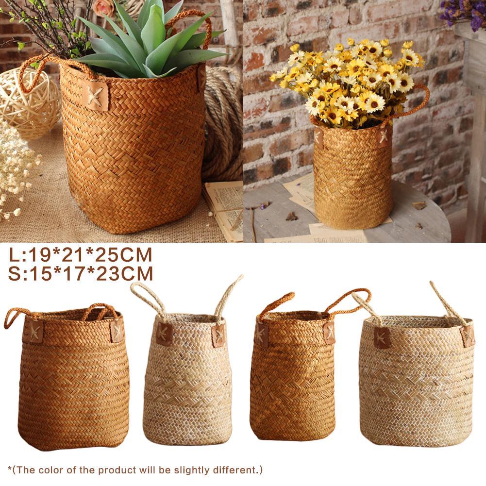 Hand-Woven Seagrass Fruit Gardening Storage Basket Nordic Simple Garden Flower Vase Hanging Basket With Handle