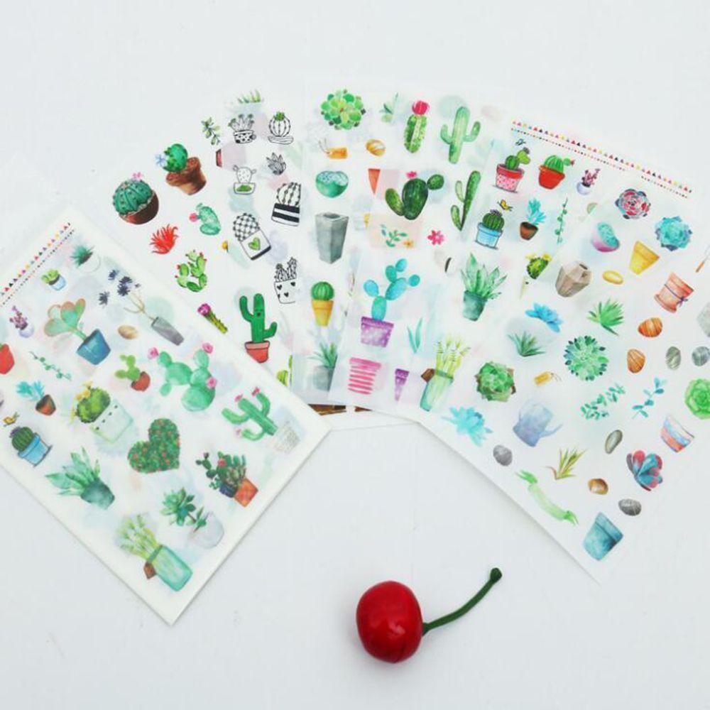 6Pcs Cactus Plant Decorative Stickers Scrapbooking  Diary Label Album Stickers  Decoration Student School Supplies Gifts