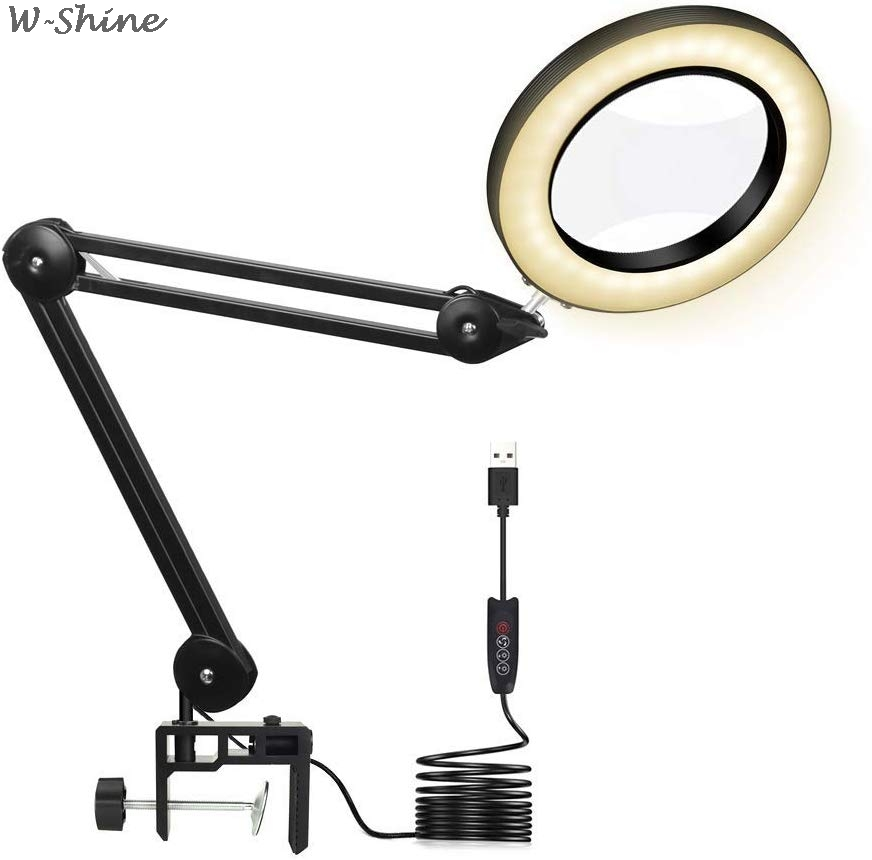 LED Desk Magnifier Lamp Light 5X Magnifying Glasses 3 Colors Dimmable Loupe For Reading/beauty Salon/tattoo/Soldering