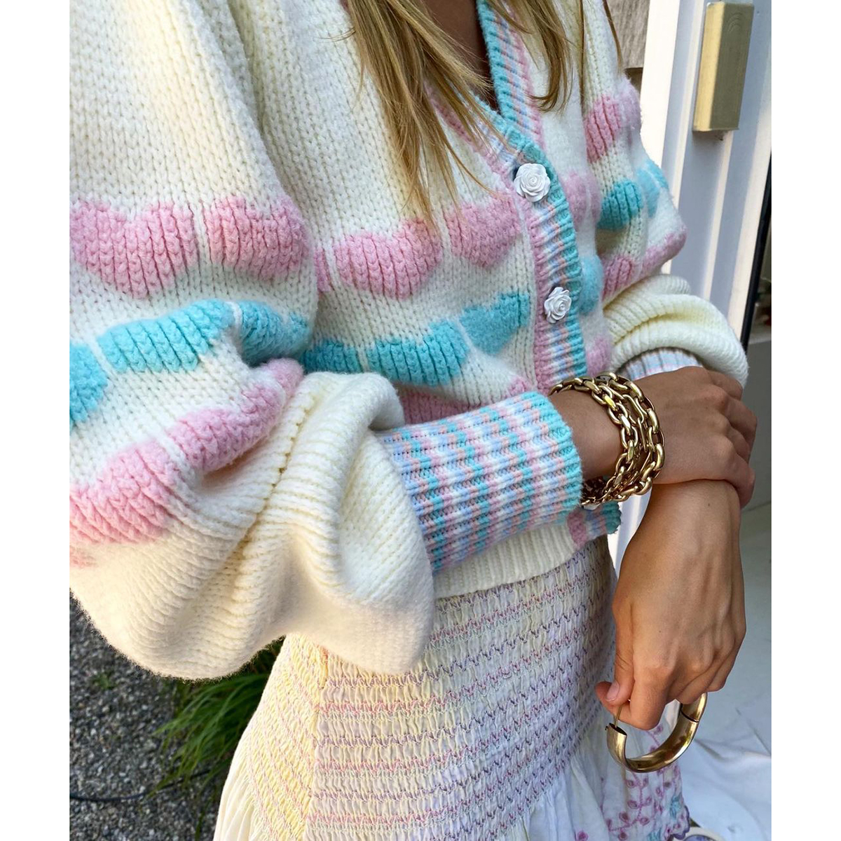 Fashion Women Hit Color Heart Pattern Cardigan Sweater Mujer Lantern Sleeve Single Breasted Crop Outerwear Autumn Tops